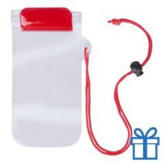 Waterdicht telefoonhoesje onder water rood bedrukken