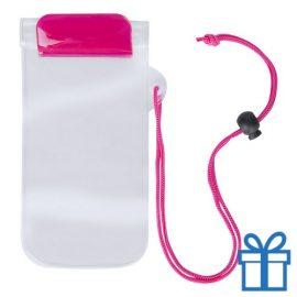 Waterdicht telefoonhoesje onder water roze bedrukken