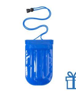 Waterdichte mobiele telefoonhouder opblaasbaar blauw bedrukken