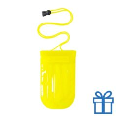 Waterdichte mobiele telefoonhouder opblaasbaar geel bedrukken