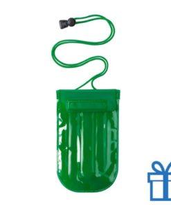 Waterdichte mobiele telefoonhouder opblaasbaar groen bedrukken