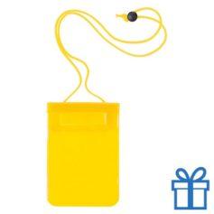 Waterdichte smartphonehoes geel bedrukken