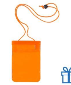Waterdichte smartphonehoes oranje bedrukken