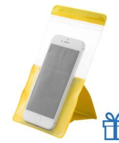 Waterdichte telefoonhoes bescherming geel bedrukken