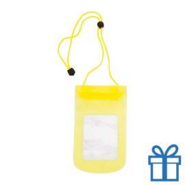 Waterdichte telefoonhoes geel bedrukken