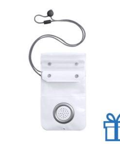 Waterdichte telefoonhoes ingebouwde bluetoothspeaker wit bedrukken