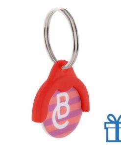 Winkelwagenmuntje sleutelhanger rood bedrukken
