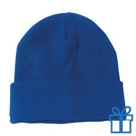 Winter muts polyester blauw bedrukken