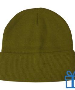 Winter muts polyester groen bedrukken