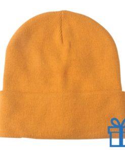 Winter muts polyester oranje bedrukken