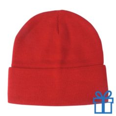 Winter muts polyester rood bedrukken