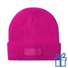 Winter muts polyester roze bedrukken
