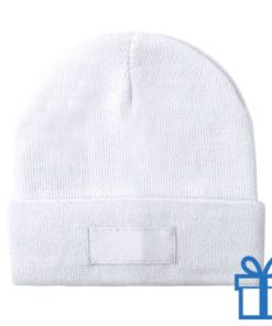 Winter muts polyester wit bedrukken
