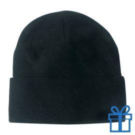 Winter muts polyester zwart bedrukken