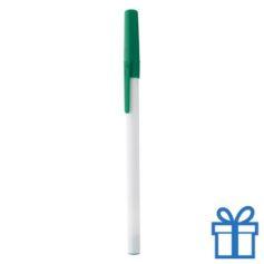 Witte balpen gekleurde dop groen