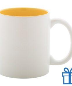 Witte mok binnen kleur geel bedrukken