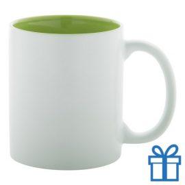 Witte mok binnen kleur groen bedrukken