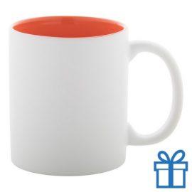 Witte mok binnen kleur oranje bedrukken
