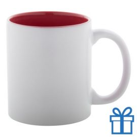 Witte mok binnen kleur rood bedrukken