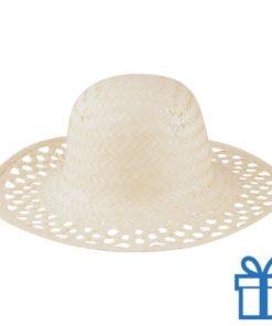 Witte rieten hoed dames bedrukken