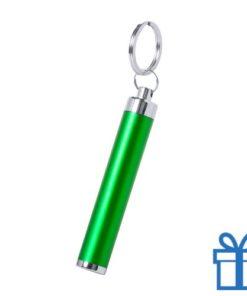 Zaklamp plastic LED sleutelhanger groen bedrukken