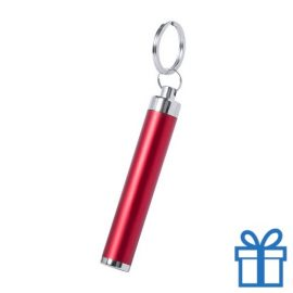 Zaklamp plastic LED sleutelhanger rood bedrukken