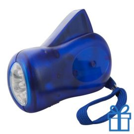 Zaklamp plastic dynamo blauw bedrukken
