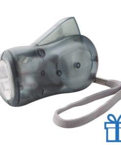 Zaklamp plastic dynamo grijs bedrukken