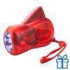 Zaklamp plastic dynamo rood bedrukken