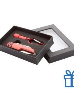 Zakmes LED karabijnhaak rood bedrukken