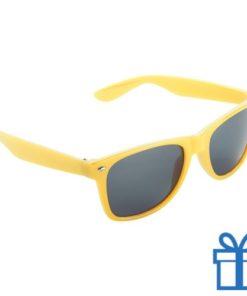 Zonnebril wayfarer budget geel bedrukken