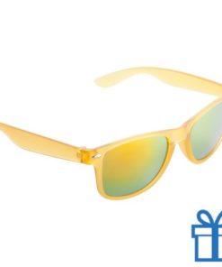 Zonnebril wayfarer transparant metallic geel bedrukken