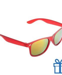 Zonnebril wayfarer transparant metallic rood bedrukken