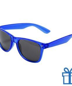 Zonnebril wayfarer transparant montuur blauw bedrukken