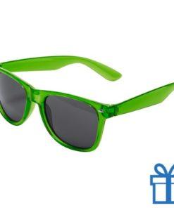 Zonnebril wayfarer transparant montuur groen bedrukken