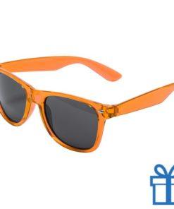 Zonnebril wayfarer transparant montuur oranje bedrukken