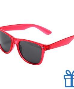 Zonnebril wayfarer transparant montuur rood bedrukken