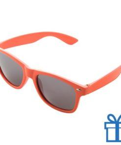 Zonnebrillen doming druktechniek oranje bedrukken