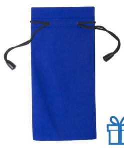 Zonnebrilzakje poly blauw bedrukken