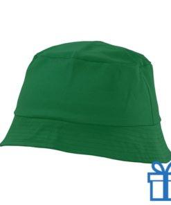 Zonnehoed katoen groen bedrukken