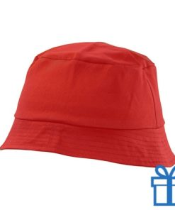 Zonnehoed katoen rood bedrukken