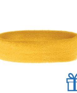 Zweetband dun  geel bedrukken